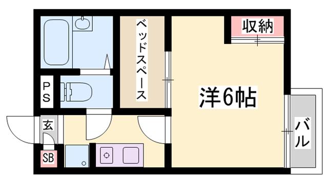物件番号: 1119491603  姫路市継 1K ハイツ 間取り図