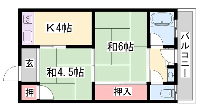 物件番号: 1119491618  加古川市平岡町一色 2K ハイツ 間取り図
