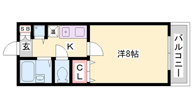 物件番号: 1119491627  加古川市別府町別府 1K マンション 間取り図