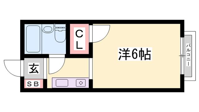 物件番号: 1119491633  加古川市尾上町口里 1K ハイツ 間取り図