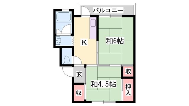物件番号: 1119491643  西脇市小坂町川原 2K マンション 間取り図