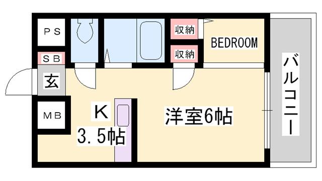 物件番号: 1119491665  姫路市八代 1K マンション 間取り図