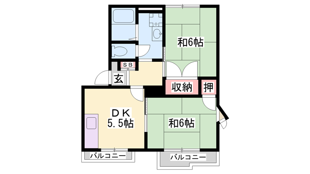 物件番号: 1119491680  加古川市平岡町一色西2丁目 2DK アパート 間取り図