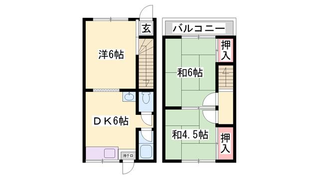 物件番号: 1119491691  加古郡播磨町本荘2丁目 3DK テラスハウス 間取り図
