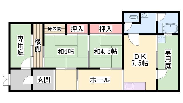 物件番号: 1119491734  姫路市伊伝居 2LDK 貸家 間取り図