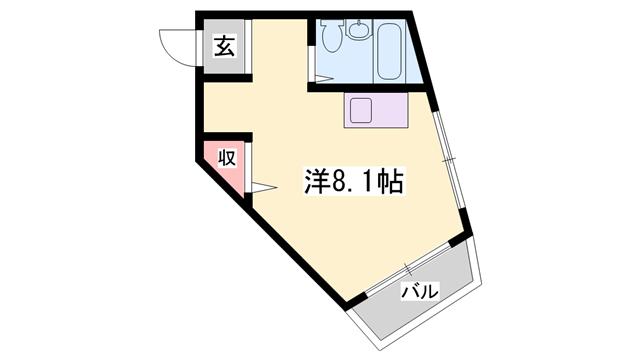 物件番号: 1119491807  加古川市加古川町溝之口 1DK マンション 間取り図