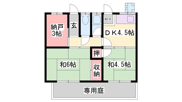 物件番号: 1119491836  姫路市大津区平松 2SDK テラスハウス 間取り図