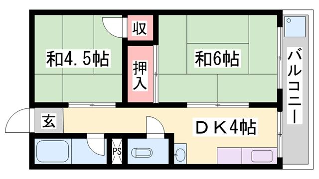 物件番号: 1119491850  姫路市西今宿5丁目 2DK ハイツ 間取り図