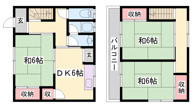 物件番号: 1119491862  姫路市藤ケ台 3DK 貸家 間取り図
