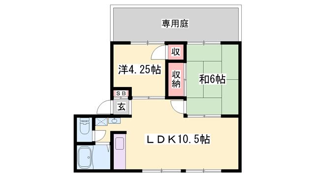 物件番号: 1119491999  加古川市別府町新野辺 2LDK ハイツ 間取り図