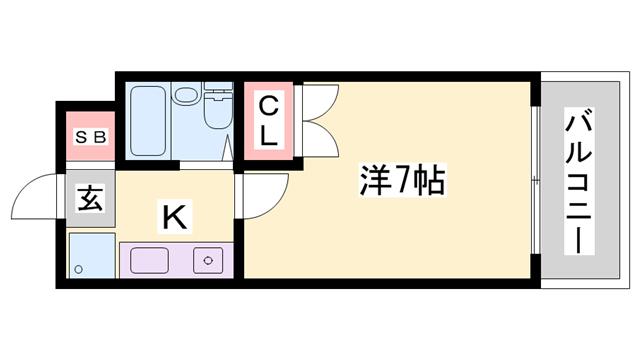 物件番号: 1119492018  姫路市城北新町2丁目 1K マンション 間取り図