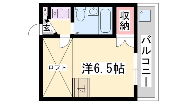 物件番号: 1119492063  加古川市平岡町二俣 1K ハイツ 間取り図