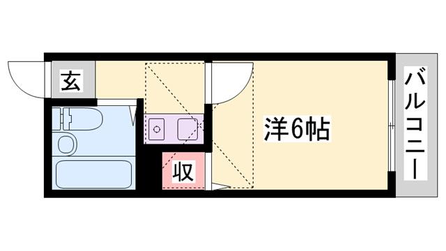 物件番号: 1119492121  姫路市新在家中の町 1K ハイツ 間取り図
