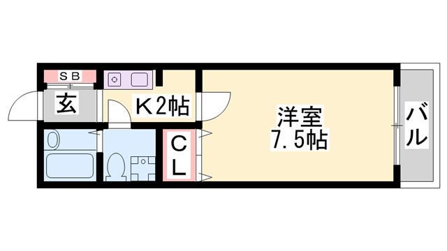 物件番号: 1119492188  たつの市龍野町北龍野 1K アパート 間取り図