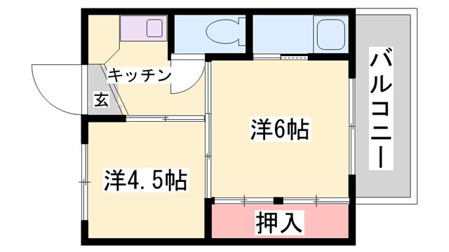 物件番号: 1119492193  加古川市志方町上富木 2K マンション 間取り図