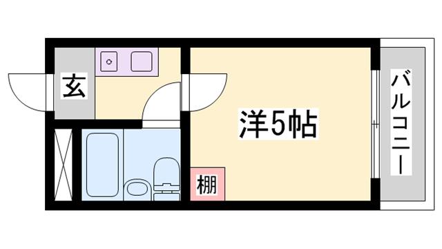物件番号: 1119492279  姫路市白国2丁目 1K マンション 間取り図