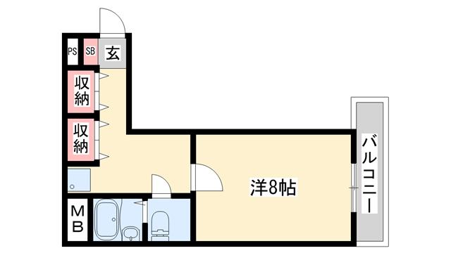 物件番号: 1119492292  姫路市飾磨区玉地1丁目 1K マンション 間取り図