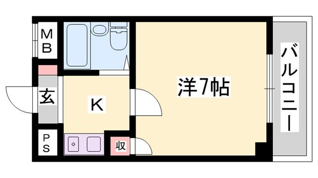 物件番号: 1119492310  姫路市北条口1丁目 1K マンション 間取り図
