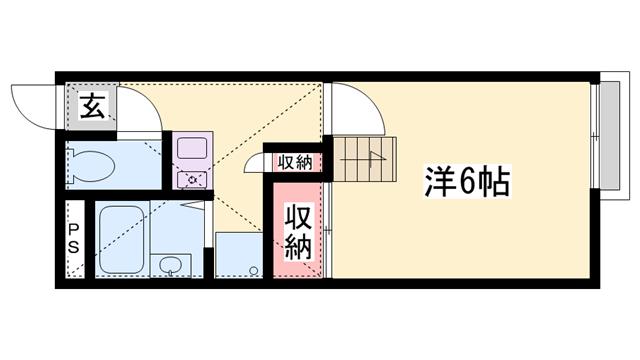 物件番号: 1119492424  姫路市書写 1K ハイツ 間取り図