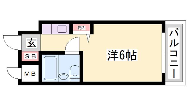 物件番号: 1119492463  姫路市野里 1K マンション 間取り図