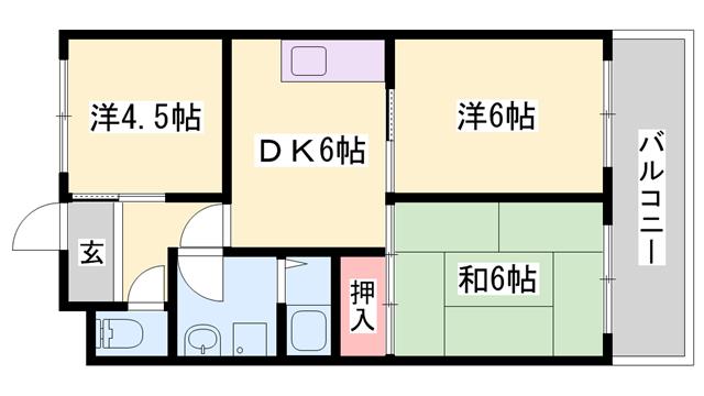 物件番号: 1119492542  姫路市勝原区大谷 3DK ハイツ 間取り図