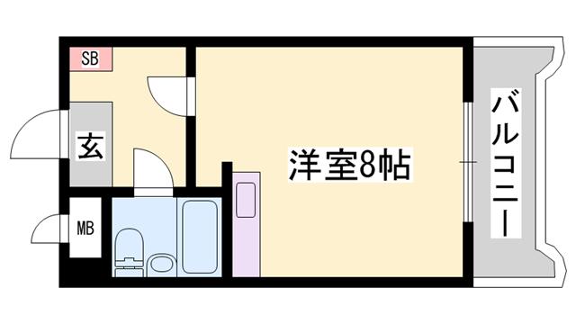 物件番号: 1119492549  姫路市東延末4丁目 1R マンション 間取り図