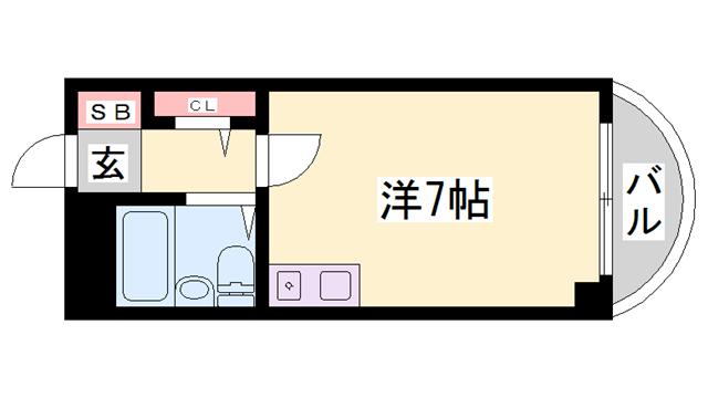 物件番号: 1119492559  姫路市忍町 1R マンション 間取り図