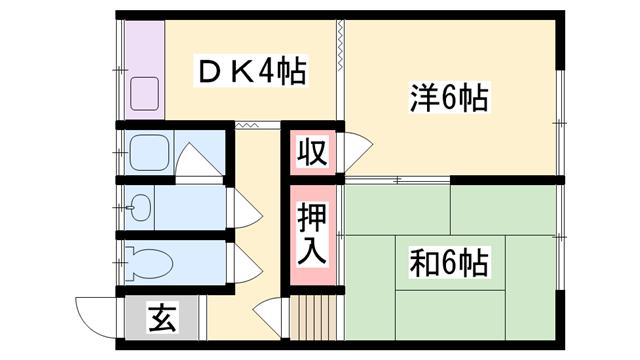 物件番号: 1119492618  加古川市平岡町新在家 2DK アパート 間取り図