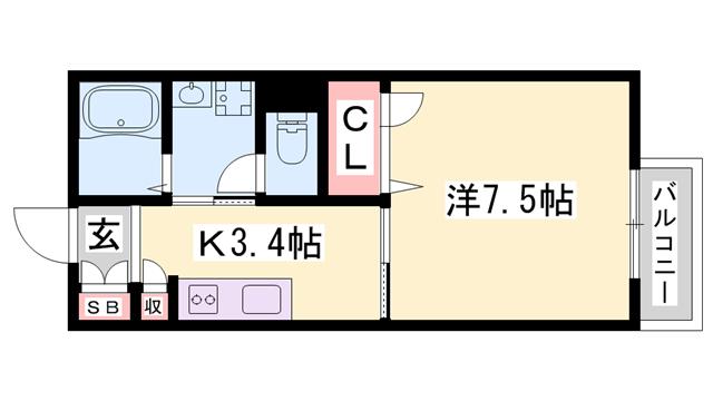 物件番号: 1119492748  加西市繁昌町 1K アパート 間取り図