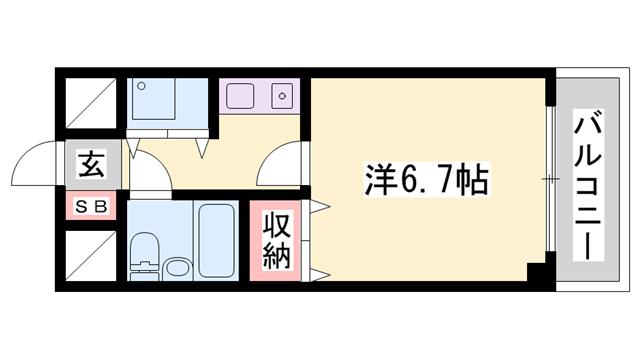 物件番号: 1119492992  姫路市栗山町 1K マンション 間取り図
