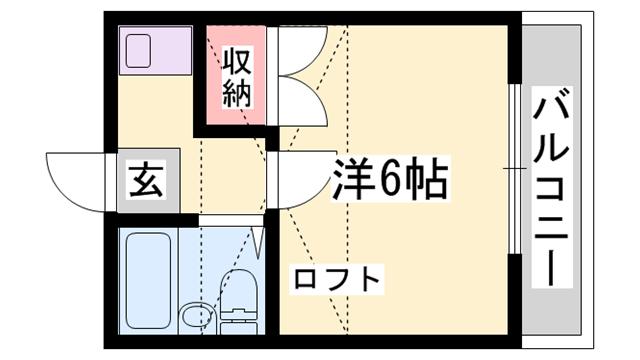 物件番号: 1119492993  加古川市加古川町溝之口 1K ハイツ 間取り図