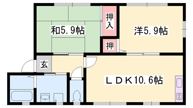 物件番号: 1119493032  姫路市網干区津市場 2LDK ハイツ 間取り図
