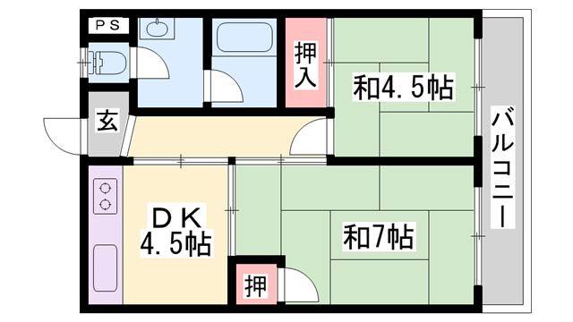 物件番号: 1119493034  姫路市五軒邸4丁目 2DK マンション 間取り図