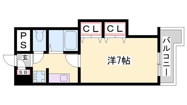 物件番号: 1119493045  姫路市保城 1K マンション 間取り図
