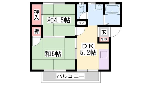 物件番号: 1119493054  姫路市飾磨区加茂 2DK ハイツ 間取り図