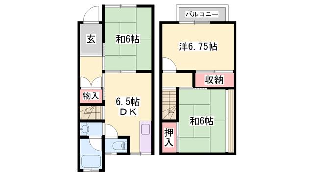 物件番号: 1119493056  加古川市加古川町中津 3DK テラスハウス 間取り図