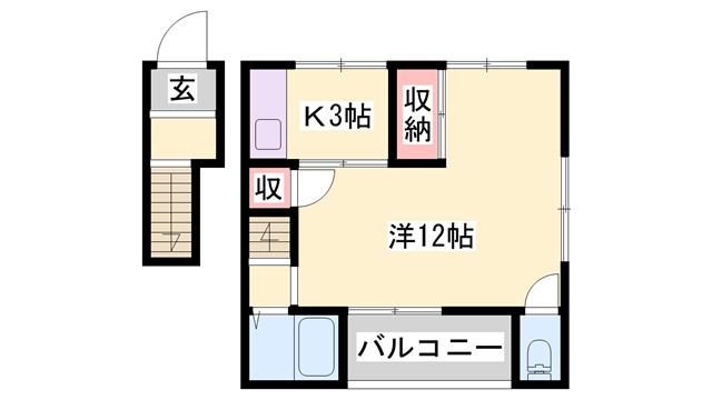 物件番号: 1119493099  姫路市伊伝居 1DK アパート 間取り図