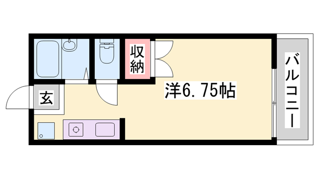 物件番号: 1119493183  姫路市玉手1丁目 1R ハイツ 間取り図