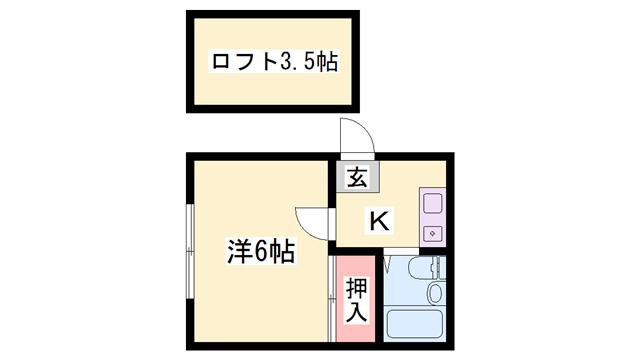 物件番号: 1119493198  姫路市神屋町3丁目 1K ハイツ 間取り図