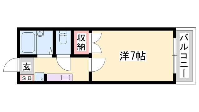 物件番号: 1119493255  姫路市砥堀 1K ハイツ 間取り図