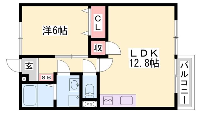 物件番号: 1119493256  たつの市御津町苅屋 1LDK ハイツ 間取り図