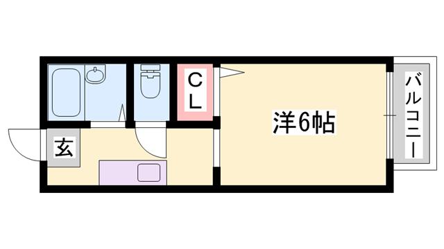 物件番号: 1119493296  姫路市砥堀 1K ハイツ 間取り図
