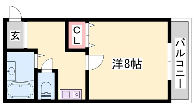 物件番号: 1119493335  加東市松沢 1K マンション 間取り図