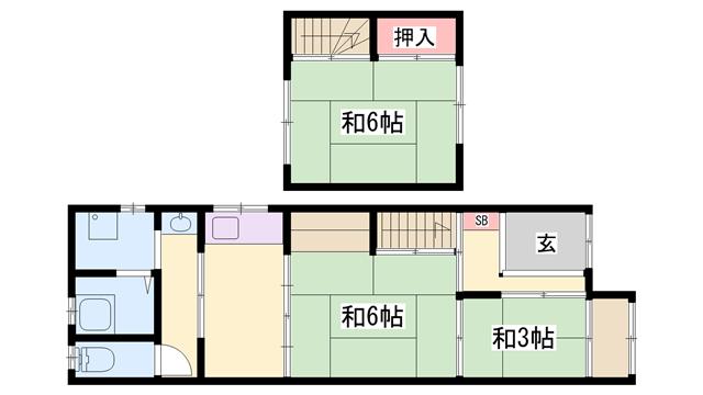 物件番号: 1119493353  姫路市飾磨区中島 3K 貸家 間取り図