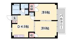 敷金0円物件 本竜野駅へ徒歩圏内 室内洗濯機置場 短期契約もご相談可能☆ 105の間取