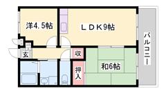 共益費・駐車場1台込みのお家賃 山崎中心部の便利な立地です! 102の間取