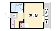 敷金・礼金0円物件☆ 学生さんにおすすめ!!! ミニ冷蔵庫付きですよ(^O^)/ 302の間取