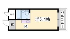 敷金・礼金0円物件☆ 姫路獨協大学近く インターネット使い放題♪ 405の間取