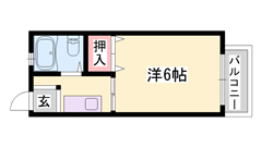 エアコン完備★単身様に人気のタイプ★閑静な住宅街★日当たり良好ですよ♪ 201の間取