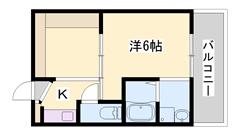 リフォーム物件☆ユニットバス・トイレ・洗面化粧台・エアコン新品♪ 402の間取